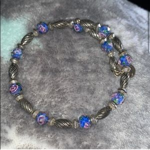 Rose and blue beaded Alex and ani bracelet